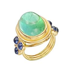 "Temple St. Clair ""St. Paolo"" Classic Mint Tourmaline & Sapphire Ring"
