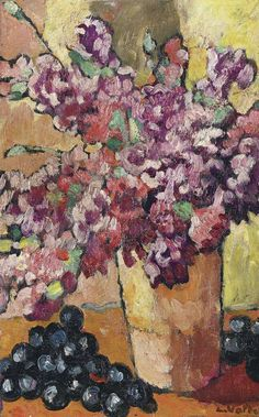 Vase with Flowers and Black Grape 1938 Louis Valtat