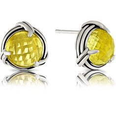 Peter Thomas Roth Fantasies Lemon Citrine Gemstone Stud Earrings In... ($225) ❤ liked on Polyvore featuring jewelry, earrings, gem jewelry, gemstone jewelry, lemon earrings, gem stud earrings and gemstone stud earrings