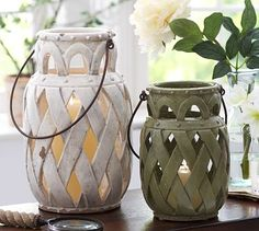 Lattice Ceramic Lantern #potterybarn