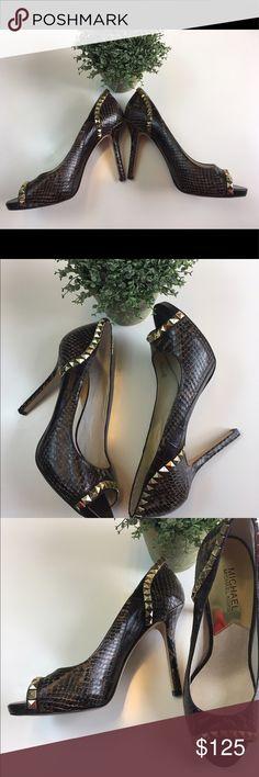 👠✨Michael Kors✨👠 ✨MK Women's Ella Peep Toe Pump Shoes,chocolate 🍫NEW 👠 KORS Michael Kors Shoes Heels