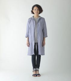 Jenn Long Shirt: Blue Chambray Stripe. Fog Linen.