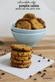 grain-free chocolate chip pumpkin coconut flour cookies - purelytwins