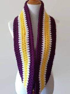LSU Tigers Licensed Pendant on a Purple  team color INFINITY scarf !