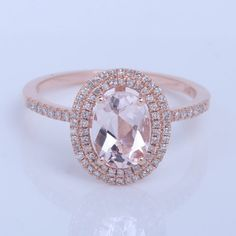 Halo Engagement Ring Oval Morganite by OliveAvenueJewelry on Etsy