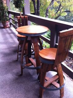 Wine barrel table and chairs at Rombauer Vineyards