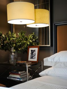 guest bedroom bed side pendant light with mirrors (make room feel bigger)