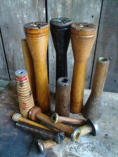antique bobbins and spools |
