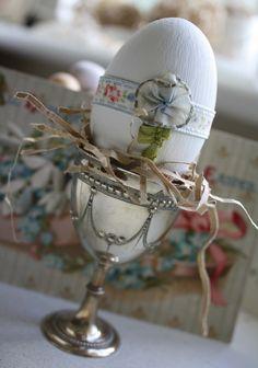Handmade Wooden Egg in Vintage Cup