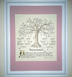 PERSONALIZED FAMILY TREE with mat & frame by applesofgold on Etsy, $60.00
