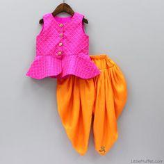 Pre Order: Hot Pink Top And Orange Dhoti Set