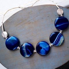 Blue Agate and Sterling silver necklace £139.00