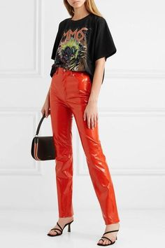 Maison Margiela - Oversized printed cotton-jersey T-shirt Patent Leather Pants, Vinyl Leggings, Dressy Pants, Straight Leg Pants, Helmut Lang, Aesthetic Clothes, Printed Cotton, Blue Denim, Fashion Looks