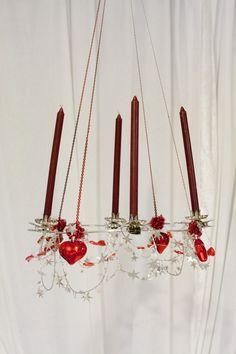 Adventskrans wire rød og sølv