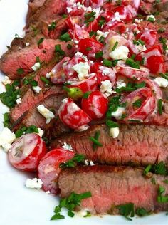 Party favorite Grilled Flank Steak with Greeked-Out Gorgonzola and Tomato Salsa — The Fountain Avenue Kitchen (Low Carb Dinner Summer) Greek Recipes, Pork Recipes, Wine Recipes, Cooking Recipes, Healthy Recipes, Healthy Foods, Delicious Recipes, Cooking Tips, I Love Food