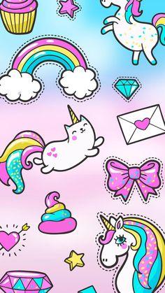 Pop art set with fashion patch badges. Kawaii Wallpaper, Disney Wallpaper, Pegasus, Iphone Wallpaper Iphone X, Girly Wallpapers For Iphone, Unicorns, Magic Sets, Girly Drawings, Unicorn Art