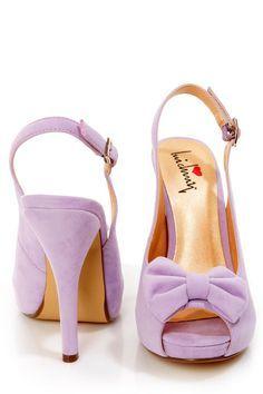 Luichiny - Taylor Lilac Suede Bow Peep Toe Slingback Heel