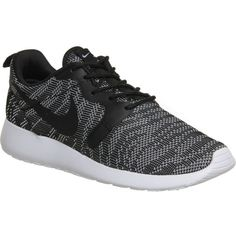 NIKE Roshe run jacquard trainers ($115) ❤ liked on Polyvore featuring shoes, sneakers, nike, black white jacquard, black and white lace up shoes, round cap, round toe sneakers and white and black shoes