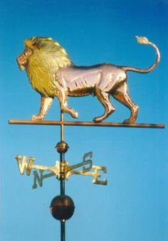 Lion Weathervane, Wild Animal Weathervanes by West Coast Weather Vanes. This Lion Weathervane can be made using copper and brass with optional gold or palladium leafing. Georges Chelon, West Coast Weather, Weather Vain, Storefront Signs, Lion, Blowin' In The Wind, Wind Direction, Lightning Rod, Wind Sculptures