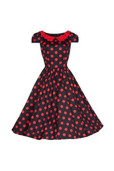 Black and Red Polka Dot Swing Dress