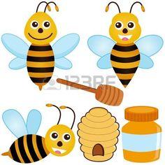 Un colorido juego de iconos vectoriales lindos: abeja, miel, colmena photo