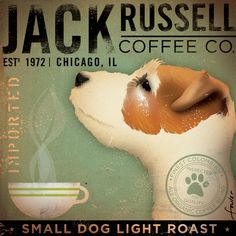 Jack Russell Coffee company original illustration by stephen fowler 12 x 12 giclee archival signed print. , via Etsy.