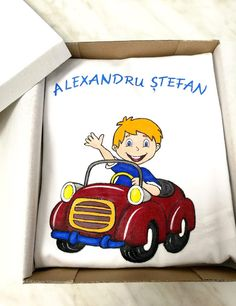 "Handmade by Do : Hand painted T-shirt "" Little boy in a car""/ Trico. Boys T Shirts, Little Boys, Smurfs, Textiles, Hand Painted, Car, Kids, Handmade, Painting"