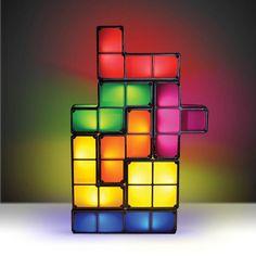 The Tetris Desk Lamp! $35.50 - http://www.strictlymancave.com/tetris-desk-lamp/  #lamp #tetris #light #gadget #mancave
