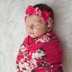 Tickled Pink Swaddle & Headband Set