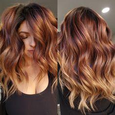Balayage On Red Hair, Red Balayage Highlights, Copper Balayage Brunette, Copper Hair With Highlights, Red Copper Hair Color, Copper Brown Hair, Balayage Hair Caramel, Hair Color Caramel, Amber Hair Colors