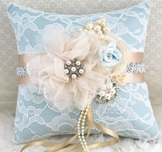 Lace Ring Bearer Pillow - Bridal Pillow in Ivory,  Champagne and Powder Blue with Pearls, Brooch and Jewels- Vintage Blue