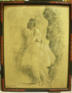 """""""La danseuse"""",  Louis #ICART (1888-1950)  Superb #charcoal #drawing heightened with #chalk. Signed on the lower left side. Beautiful vintage frame. For sale on Proantic by Galerie Serventi ."""
