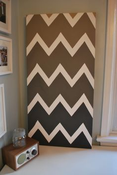 Acrylic paint and canvas - chevron art. This is something I'd love to try, would definitely use masking tape to control the lines. Next project perhaps?