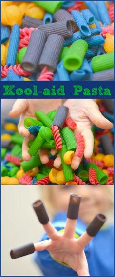 How to make kool-aid dyed pasta for crafting, scented pasta necklaces, sensory… Sensory Bins, Sensory Activities, Sensory Play, Preschool Activities, Sensory Table, Sensory Bottles, Kool Aid Dye, Art For Kids, Crafts For Kids