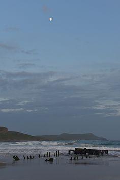 Moon over the wreck in Machir Bay, Isle of Islay