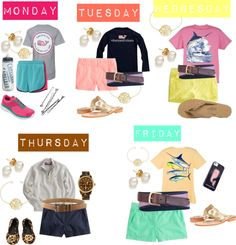 lovelaurenmarie17:  Weekly by katandodee featuring a leather belt ❤ liked on PolyvoreVineyard Vines  / Printed t shirt / T shirt / J.Crew j crew / J.Crew j crew / Chino shorts / J.Crew j crew / NIKE  / Rainbow  flip flops / Jack Rogers flat shoes / NIKE athletic shoes / Michael Kors  watch, $275 / Pearl jewelry, $220 / Silver charm / Belt / Leather belt, $115 / Iphone case / Guy Harvey Marlin Boat Youth Tee Shirt in Dark Pink, Lime, Denim Blue,… / CamelBak Trinkflasche Podium Chill 610ml…
