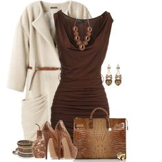 I live this brown dress with the heels for a fall look {Brown dress, Brown heels, snake skin purse and white coat}
