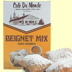 Here in New Orleans nothing goes better with cafe' au lait than beignets. Beignets are puffy square French doughnuts covered in powdered sugar. Beignets, Love Cafe, Coffee Stands, Louisiana Recipes, Mardi Gras Party, C'est Bon, Just Desserts, New Orleans, Sweets