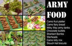 Army party, army theme, party food, mini army tanks, slouch hats, camouflage fairy bread, camo fruit platter, camo lollies, warheads, sherbert bombs, bullets