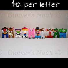 Toy Story Character Letter Art by GunnersNook on Etsy Cumple Toy Story, Festa Toy Story, Toy Story Party, Toy Story Birthday, 2nd Birthday, Character Letters, Character Names, Dibujos Toy Story, Toy Story Room