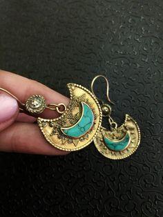 Ethnic earrings - Tribal jewellery - tribal earrings - brass -  crescent earrings - artisan earrings - Turkmen jewelry by Omanie on Etsy