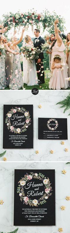 stunning rustic floral wreath uv printing wedding invitations.#weddings #invitations #rustic #chalkboard #weddinginspiration