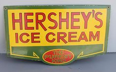Heshey's Ice Cream Porcelain Sign  (The Purest Kind, Antique Advertising Signs)