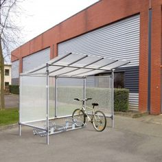 Budget Aluminium Cycle Shelter - If you're looking for a great, economical cycle shelter then this Budget Aluminium product from Bailey Streetscene is one of the most value-for-money cycle storage products available. Cycle Storage, Bike Storage, Narrow Shed, Cycle Shelters, Cycle Stand, Bike Shelter, Bike Shed, Street Furniture, Cladding
