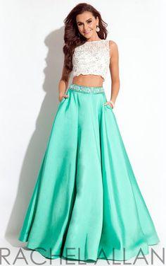Rachel Allan Exclusive Prom Evening Dress 2 piece Beaded Crop Top Long 6 Jade