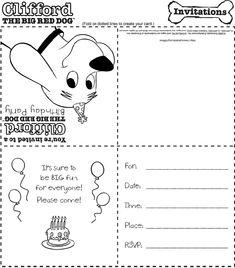 Clifford printable birthday invites