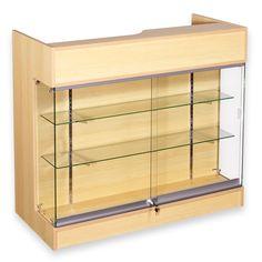 Ledgetop Retail Counter with Showcase Wine Glass Shelf, Glass Shelves Kitchen, Kitchen Cabinets, Cash Counter, Retail Counter, Locking Display Case, Glass Showcase, Display Showcase, Service Counter