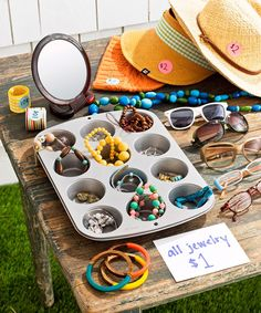Rather than dumping clothes and accessories in a box, display them. Hang items from a clothesline or a coat rack, and prevent jewelry tangles by stowing baubles in a muffin tin. Place a mirror nearby so buyers can check themselves out.  - GoodHousekeeping.com