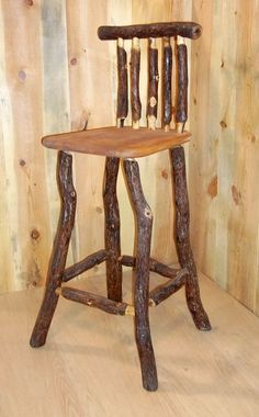 Custom Made Rustic Oak Log Stool With Back