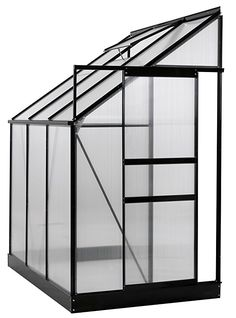 Ogrow 25 sq.ft. Aluminum Lean-To Greenhouse with 6' x 4' x 7' Sliding Door & Roof Vent